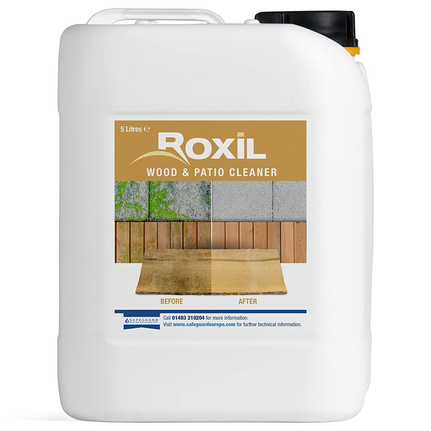 Roxil Wood & Patio Cleaner - Cleans decking, fencing, wooden structures, patios and paving - 5 Litres Safeguard Europe
