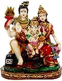 SUNNY CORPS Stone Shiv Parivar Shiv-Parvati Ganesha Statue Idol Showpiece Sculpture Murti (15x18.5x8cm LxBxH)