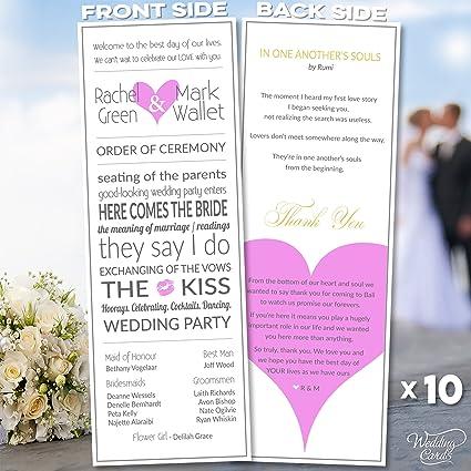 amazon com 10 x personalised wedding ceremony order planner thank
