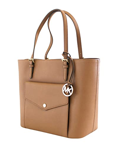 c9d86a8c4188 Amazon.com  Michael Kors Acorn Luggage Leather Jet Set Large Multi Function  Pocket Tote  Shoes