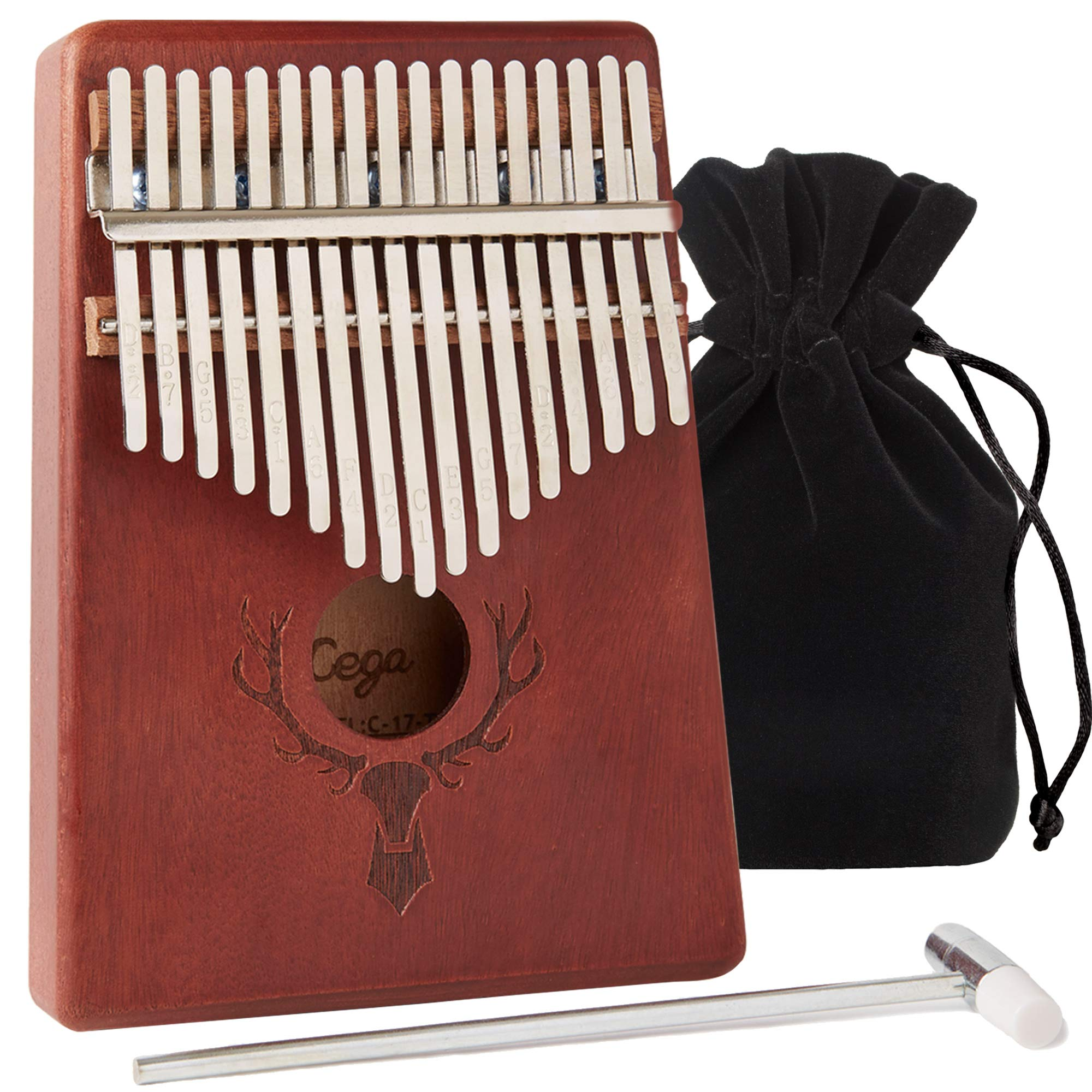 TimberTunes 17 Key Kalimba Thumb Finger Piano Therapy Musical Instrument for Adults Children, Solid Mahogany Wood, Engraved Elk Antler,Tuning Hammer and Music Book, Engraved Keys, Velvet Case, Unique by Timbertunes (Image #1)