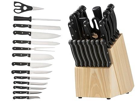 Cuchillo bloque 22 piezas Cuchillos de Acero Inoxidable: 1 cuchillo rebanador, 1 – Cuchillo Santoku, 1 tenedor, 1 cuchillo de cocina, 1 cuchillo de ...