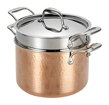 Image result for Lagostina Q5544864 Martellata Tri-ply Hammered Stainless Steel Copper Dishwasher Safe Oven Safe Pasta Pot with Lid and Pasta Insert Cookware, 6-Quart, Coppe