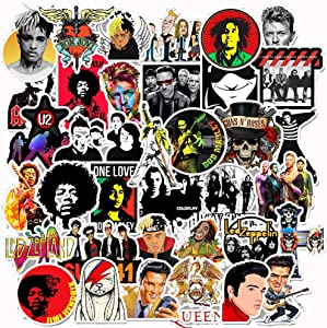 Hip-Hop Rock Laptop Stickers Cool - 50 Pcs Vinyl Decals Water Bottle Phone Case Notebook Guitar Skateboard Travel Kid Adults Waterproof Unique
