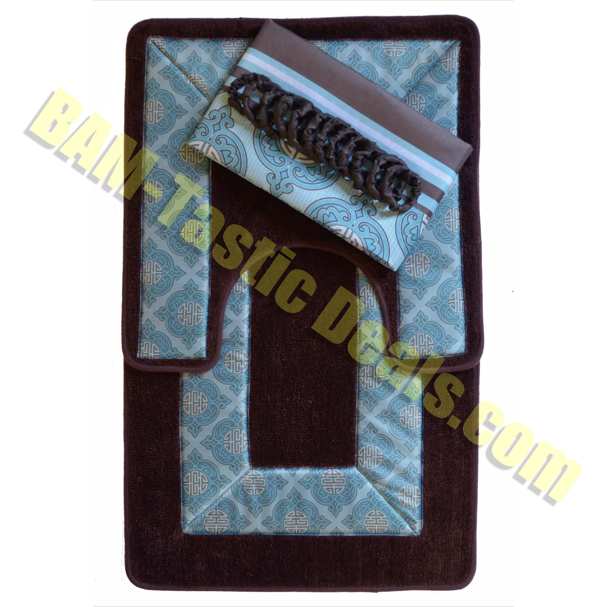 Blue And Chocolate Bathroom: Brown And Blue 15-piece Bathroom Set: 2-rugs