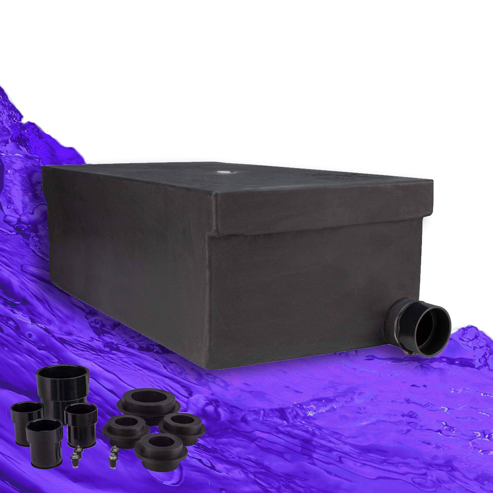 RecPro 31 Gallon RV Holding Tank 34'' x 19 1/2'' x 13'' | Black Waste Water | 4848 | Includes Universal Installation Fittings Kit by RecPro
