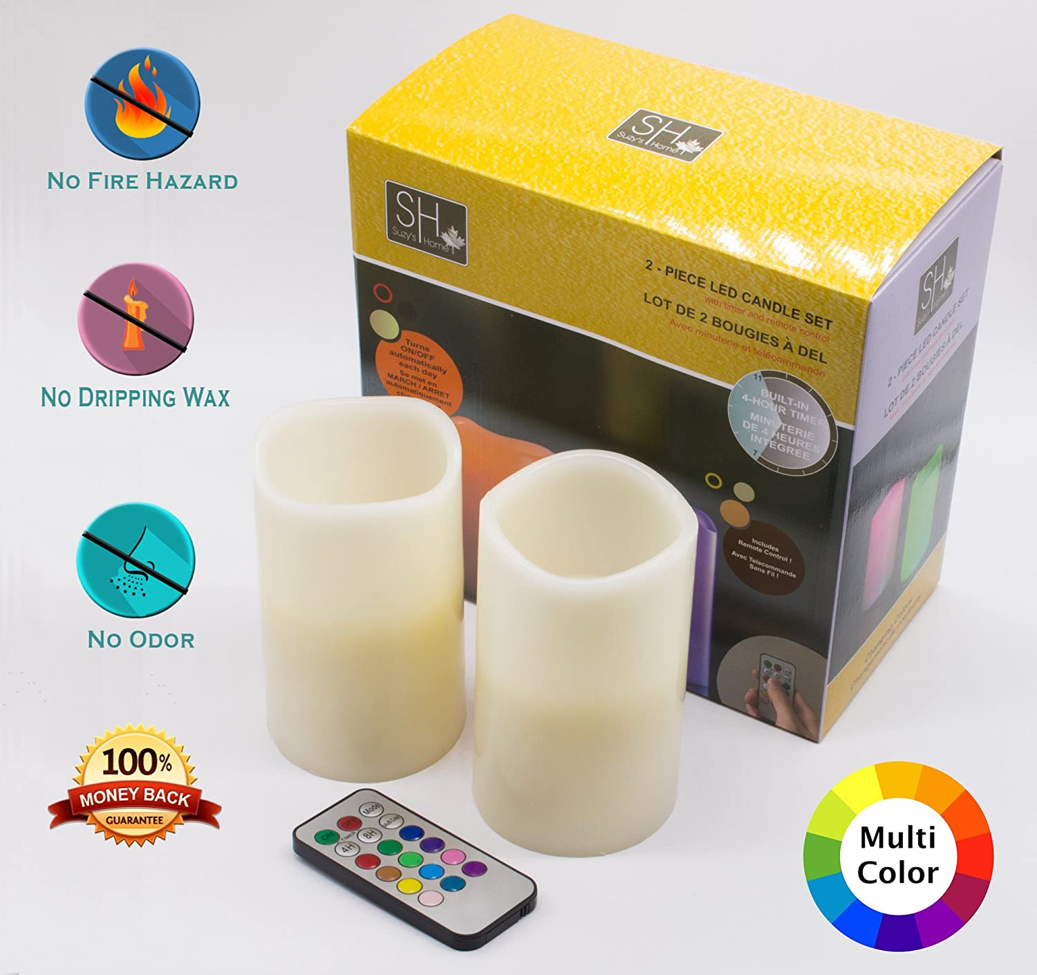 Set of Two Multi-Color LED Candles With Remote Control, From Suzy's Home Collection Toy Target Inc.