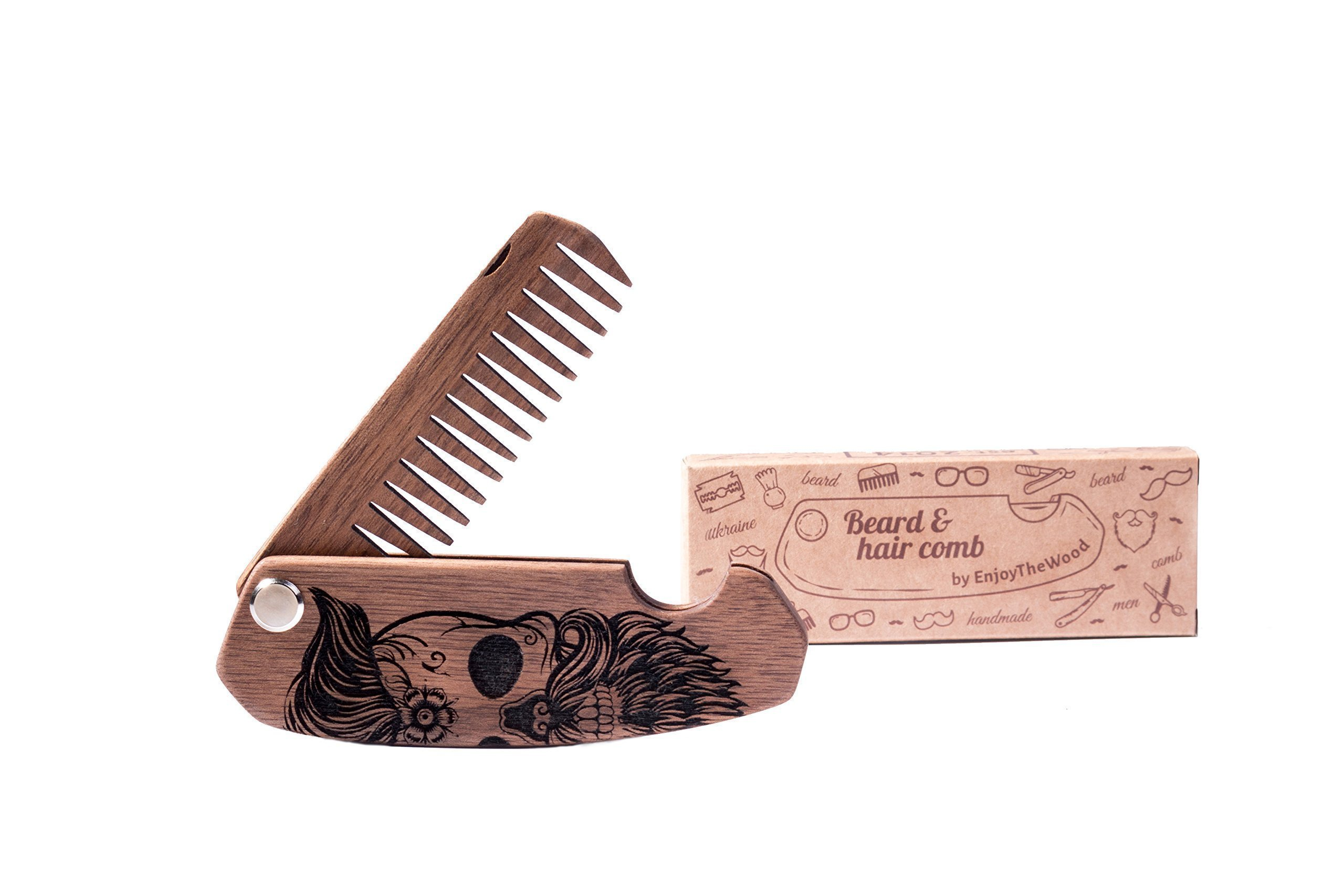 Wooden beard comb by Enjoy The Wood - moustache comb - Anti-Static Wooden Folding Comb for Men with Sugar skull. Great with beard Balm or beard Oil. Grooming kit Pocket. Perfect gift for him