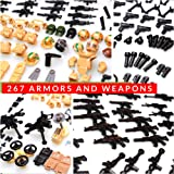 inFUNity Army Minifigures Armor and Weapons Guns Military Gear Accessories Pack (267 PCS) Compatible with Lego Army…