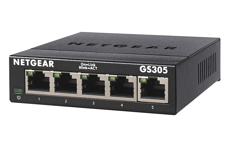 Desktop Fanless NETGEAR 8-Port Gigabit Ethernet Unmanaged Switch Sturdy Metal Internet Splitter Plug and Play GS308
