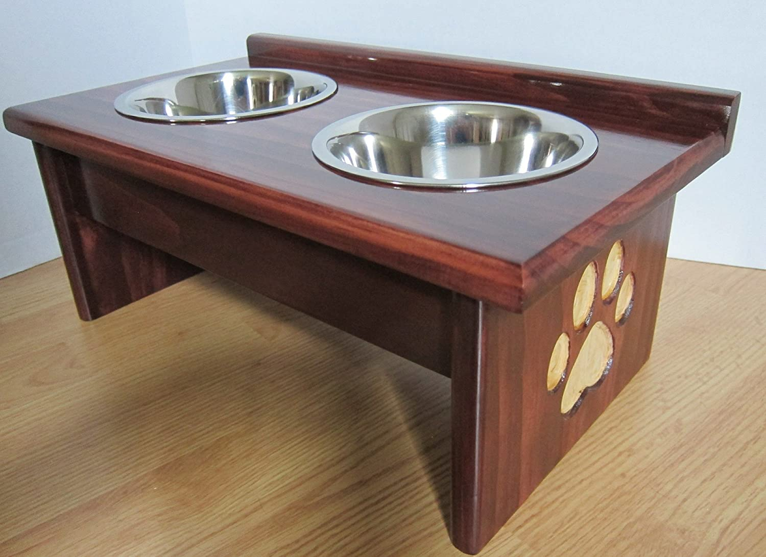 Paw Print Carved Leg Elevated Food Dish Holder - XSmall