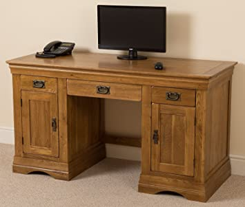 French Rustic Solid Oak Large Office Computer Desk, Workstation (145 X 60 X  79.5