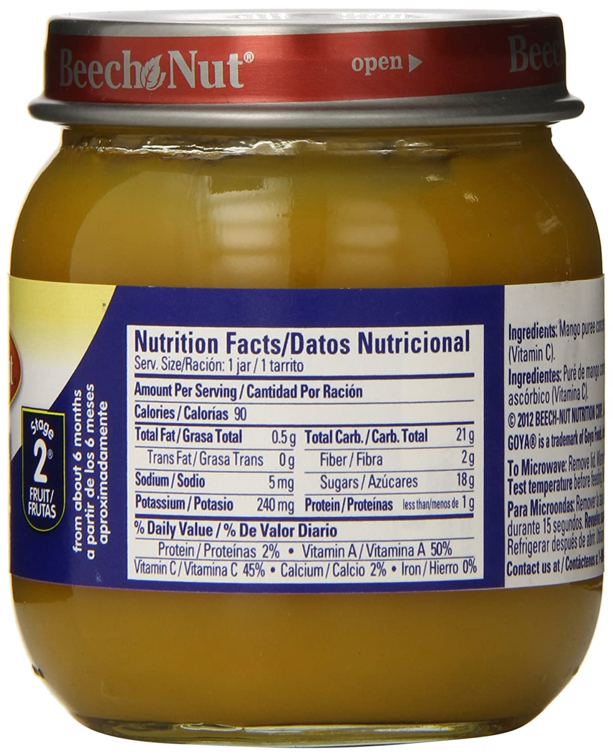 Beech Nut Stage 2 Goya Jar, Mango, 4 Ounce (Pack of 10): Amazon.com: Grocery & Gourmet Food