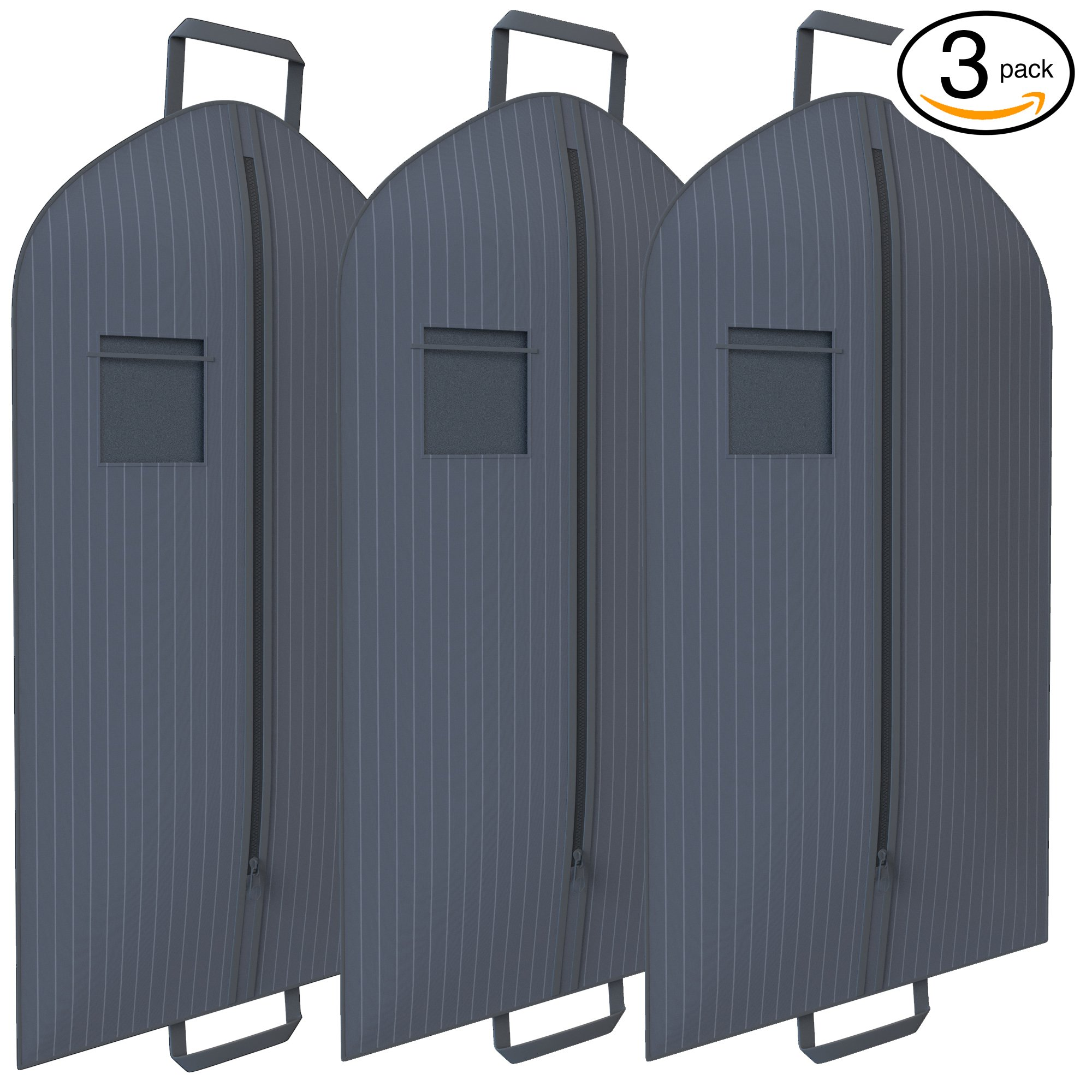 Grey Pinstriped Suit Garment Travel Bags 3 Pack With ID Tag Window - 40'' X 24''