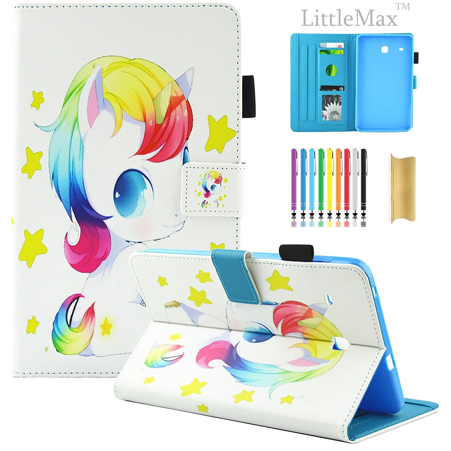 Galaxy Tab E 8.0 Case, LittleMax(TM) Ultra Slim Lightweight Smart Shell Standing Cover [Card Slots] for Samsung Galaxy Tab E 8.0-Inch SM-T375 / SM-T377 Tablet [Free Stylus Pen] - 03 Unicorn Baby