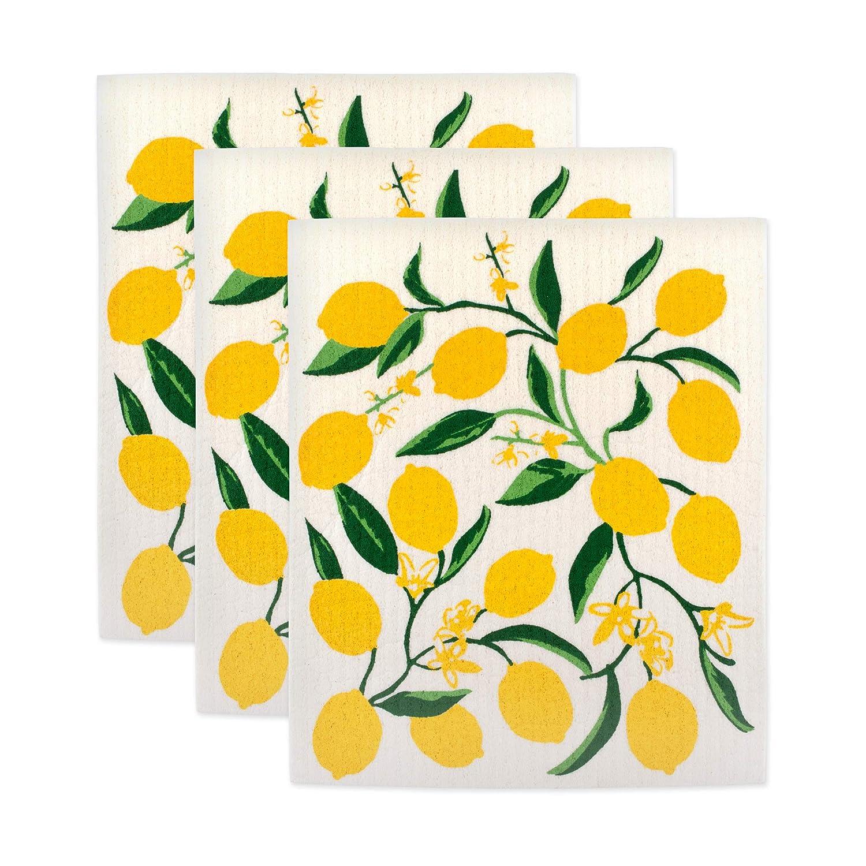DII Swedish Dishcloths, 100 % Natural Cellulose, Environmentally Friendly, Set of 3, Lemon