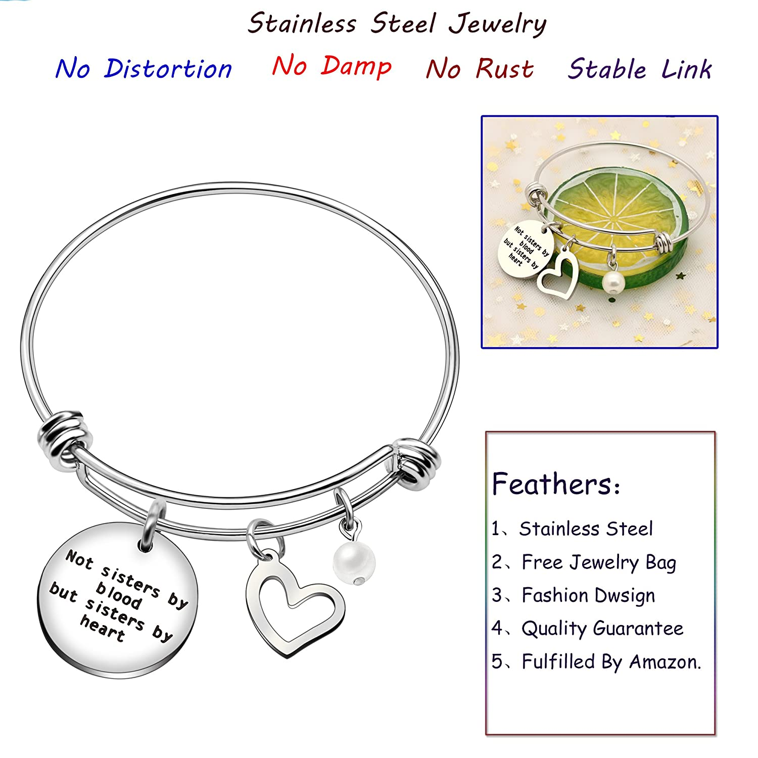 Not Sisters Blood But Sisters Heart Sister Bangle Bracelet Wedding Anniversary Best Friend Heart Pearl Graduation Gifts