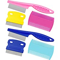 Boao 6 Pieces Pet Lice Combs Dog Grooming Flea Comb Cat Tear Stain Comb for Removal Dandruff, Hair Stain, Nit (Colour 1)