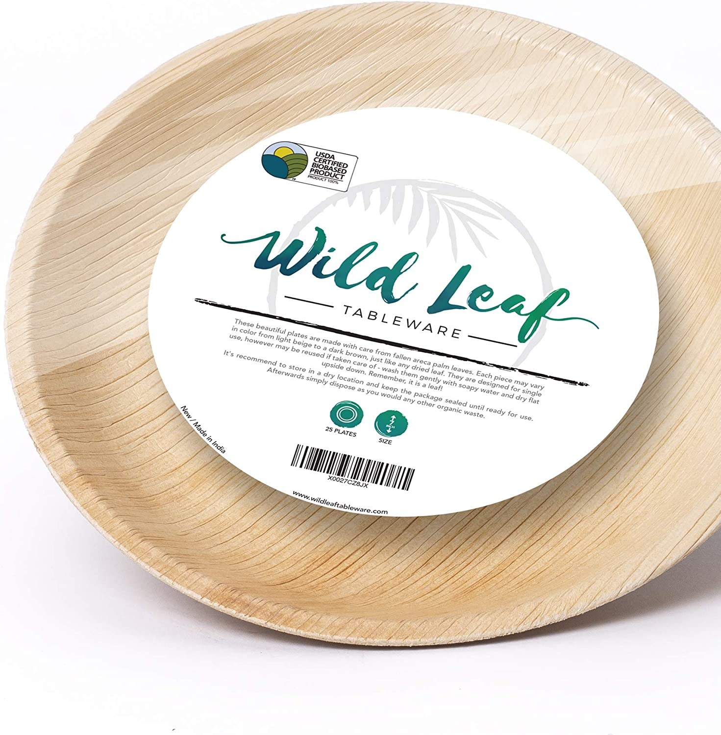 Wild Leaf Tableware Disposable Bamboo Look Plates - 7 Inch Round - Elegant, Sturdy, Biodegradable, Compostable and Chemical Free, Natural Alternative to Plastic and Paper - Pack of 25