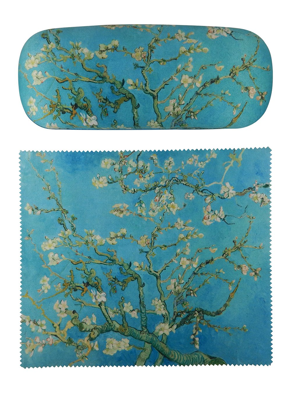 Van Gogh Almond Blossoms Painting Art premium quality eyeglass case and matching Almond Blossoms Painting art microfiber eyeglasses cleaning cloth