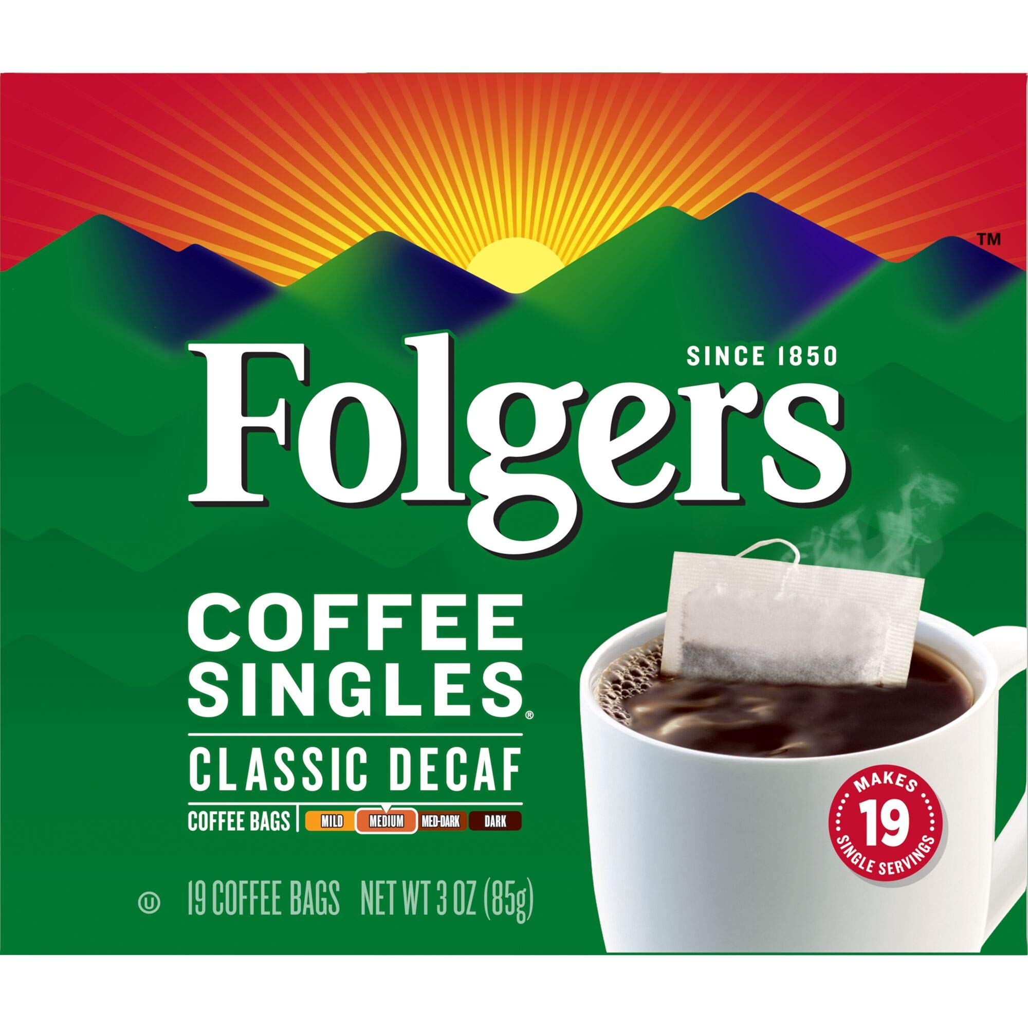Folgers Classic Roast Decaffeinated Coffee Singles (Medium), 19 ct, 3 oz, Packaging May Vary by Folgers