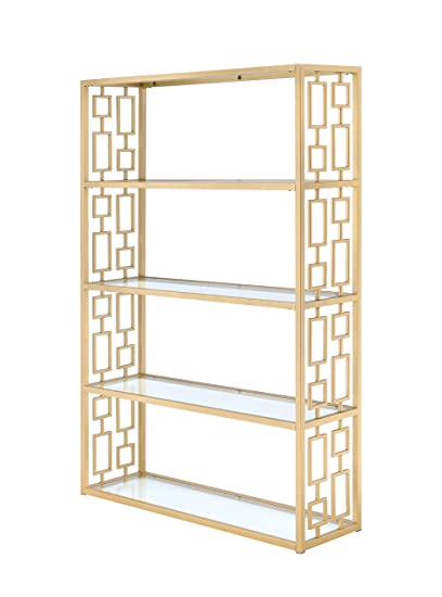 Acme Furniture 92465 Blanrio Etagere Bookshelf Clear Glass Gold