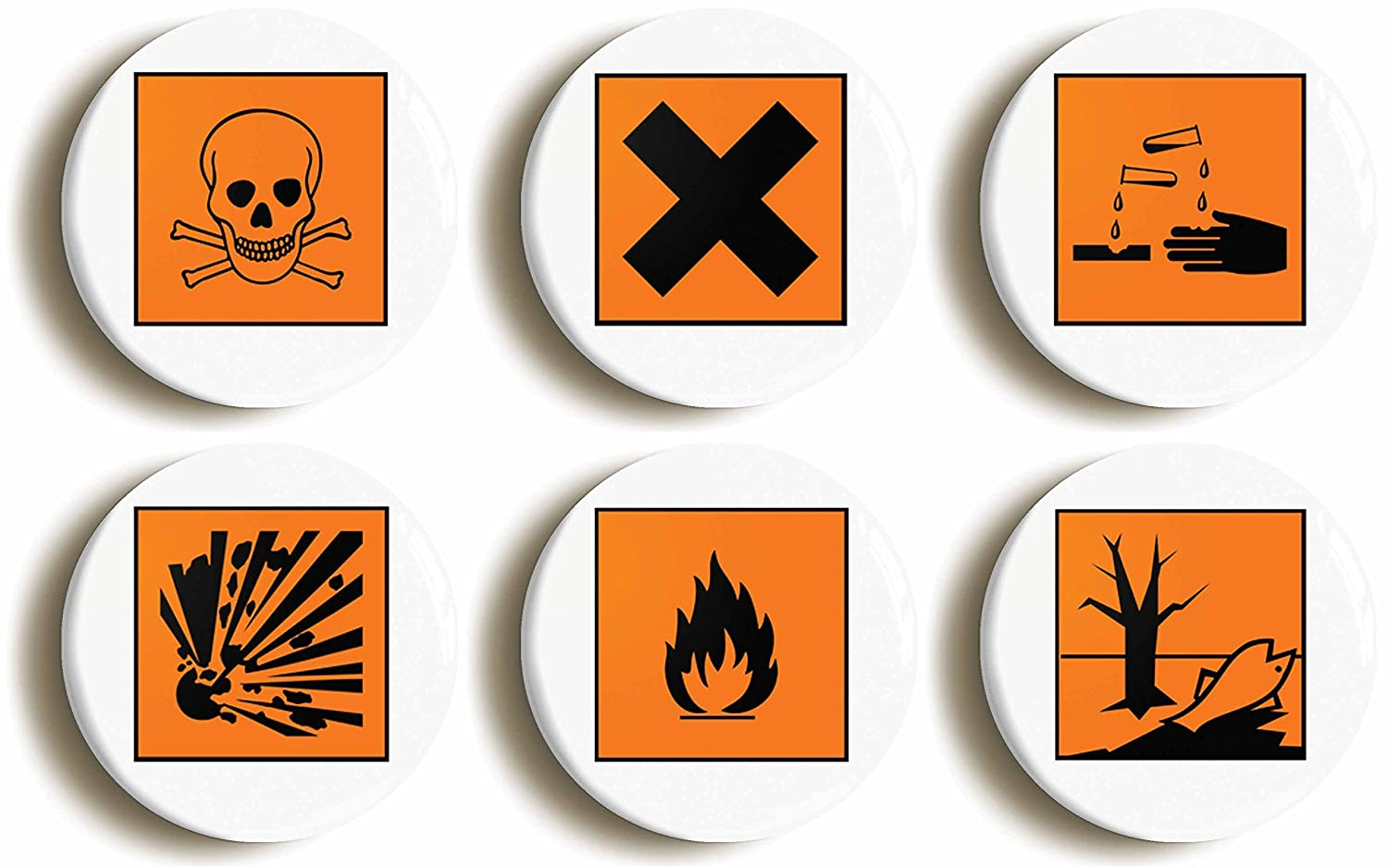 6 x science hazard symbol geek badges button pins 1inch25mm 6 x science hazard symbol geek badges button pins 1inch25mm diameter amazon toys games buycottarizona Image collections