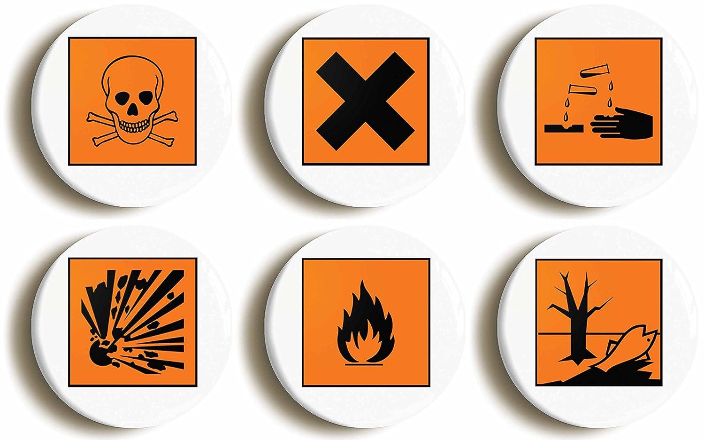 6 x science hazard symbol geek badges button pins 1inch25mm 6 x science hazard symbol geek badges button pins 1inch25mm diameter amazon toys games biocorpaavc Gallery