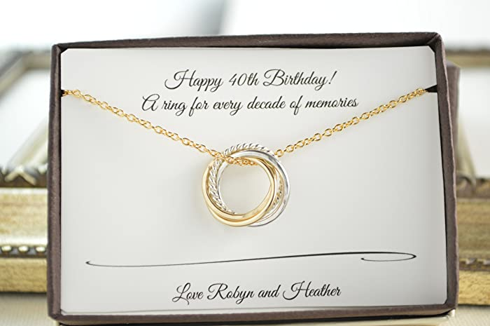 40th Birthday Gift For Her 4 Mixed Metals Necklace 4th Anniversary Petite