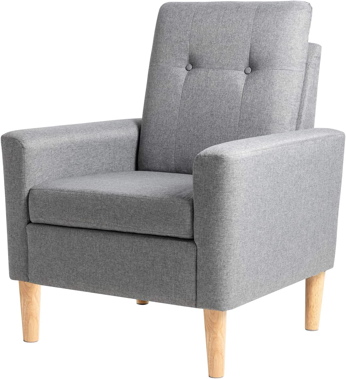 Office Comfy Upholstered Room Corner Reading Chair For Living Room Grey Bedroom Linen Single Sofa Fabric Accent Arm Chair With Solid Wood Legs Shintenchi Modern Accent Chair Small Living Space Furniture Living