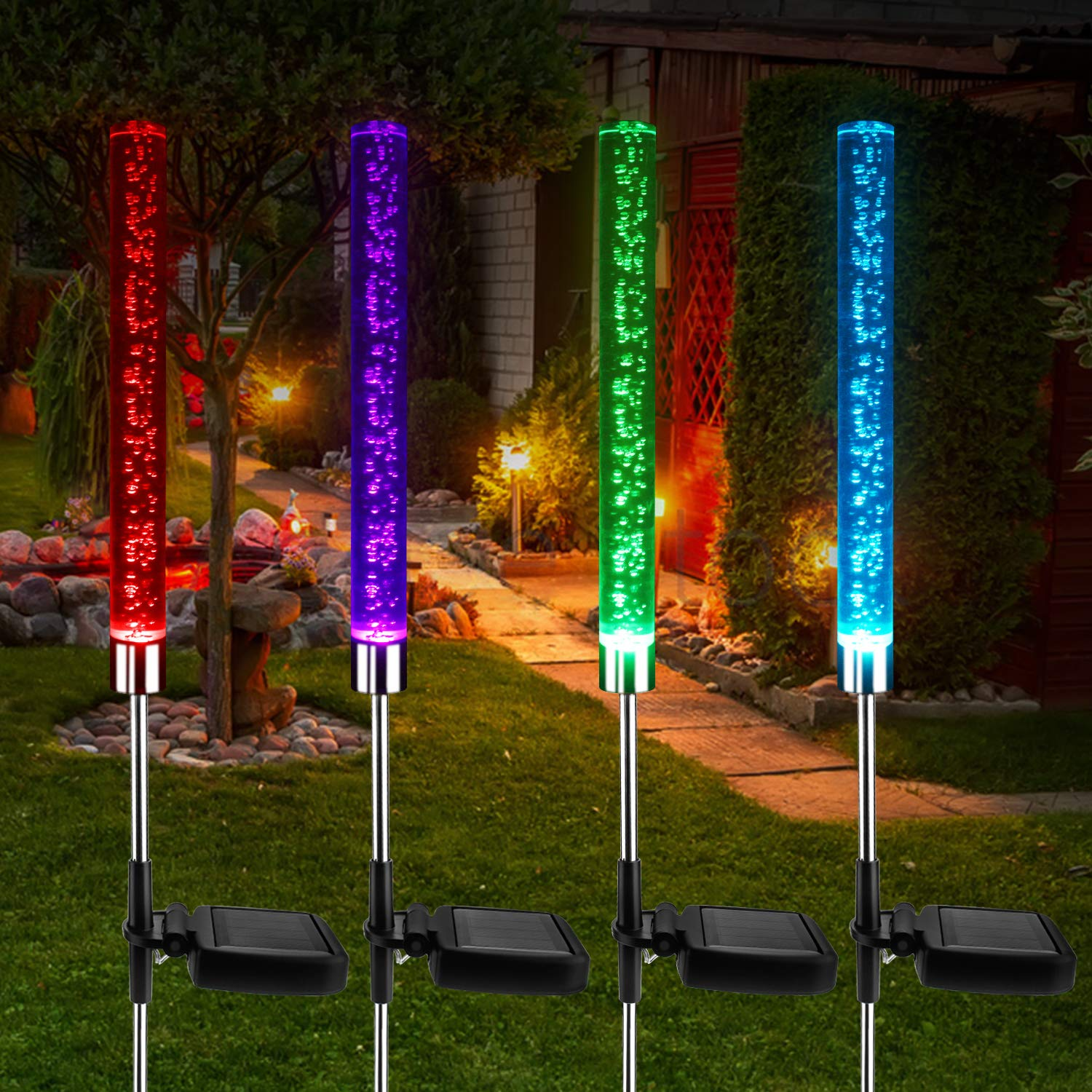 Beinhome 4pcs Garden Solar Bubble Lights Outdoor Solar Powered Acrylic Tube LED Lights 8 Colors Changing Outdoor Stake Lights for Garden Patio Pathway Backyard Decoration
