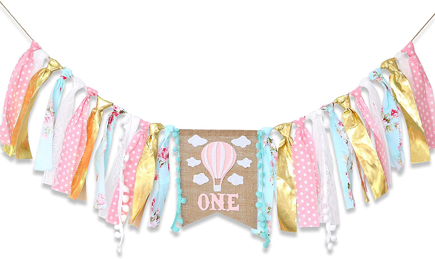 Hot Air Balloon Banner for 1st Birthday - Cake Smash Photo Prop for High Chair,Party Decoration for First Baby Birthday,Birthday Souvenir for Baby Girl(Pink Golden)