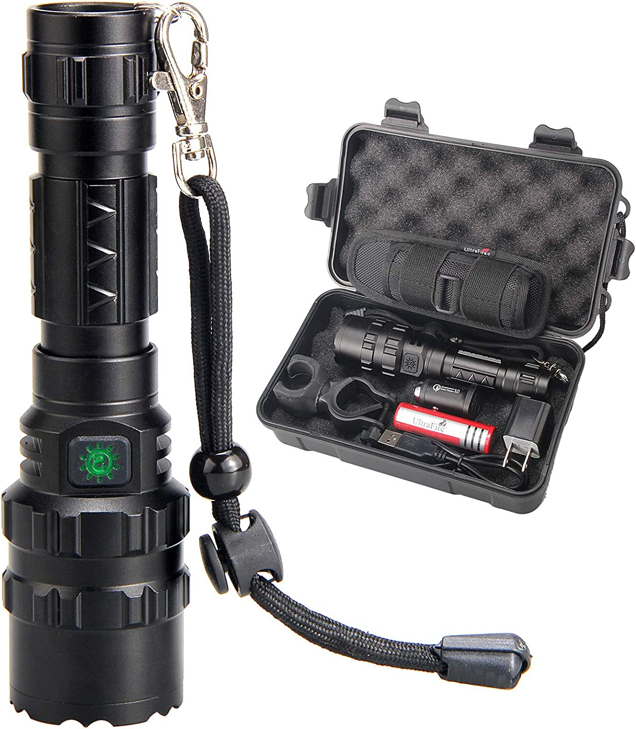 UltraFire 3 Pack 502B Tactical Flashlight 1000 Lumens 5 Modes Mini Flashlights Waterproof LED Torch Batteries Not Included