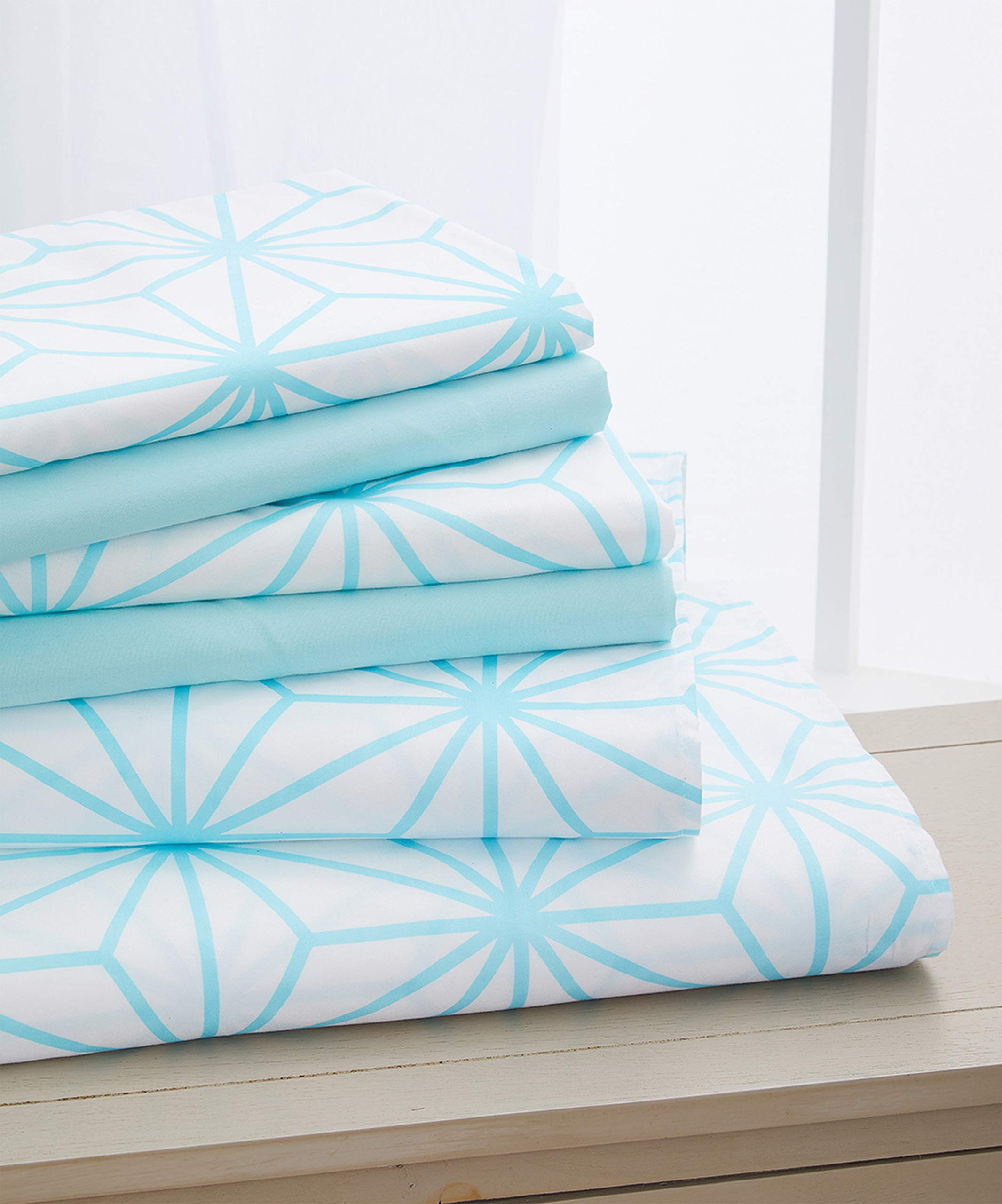 Elegant Comfort Luxury Soft Cube Printed Set-1500 Thread Count Egyptian Quality Microfiber 6-Piece Set Wrinkle Resistant Coziest Bedding, All Around Elastic Fitted Sheet, Full Aqua Blue by Elegant Comfort