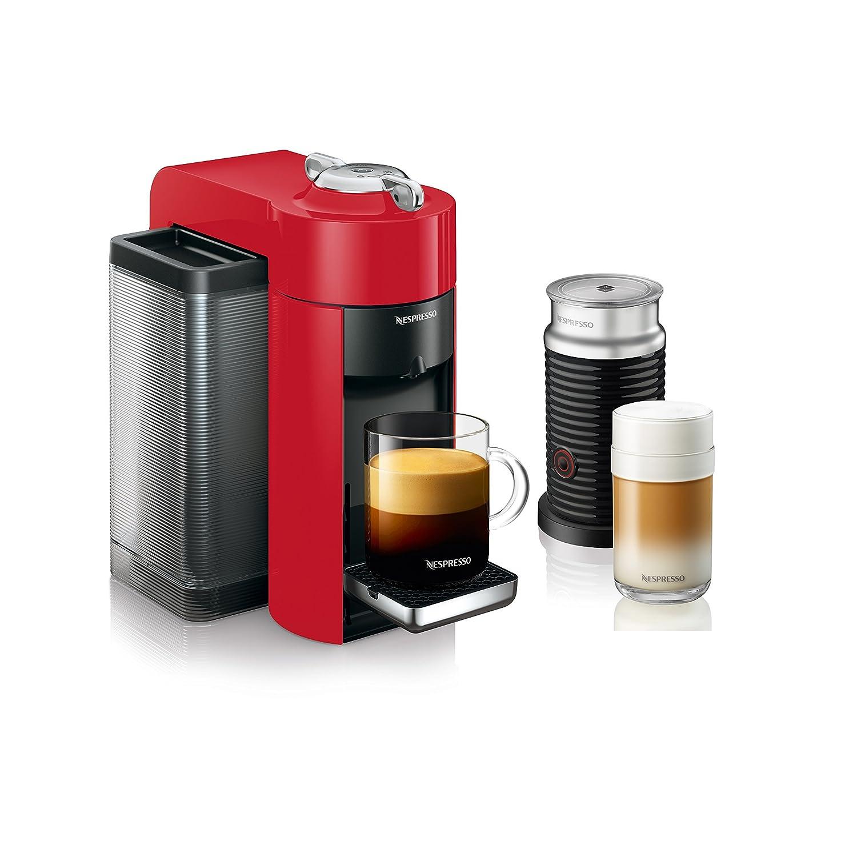 Nespresso Vertuo Evoluo Coffee and Espresso Machine with Aeroccino by De'Longhi, Red