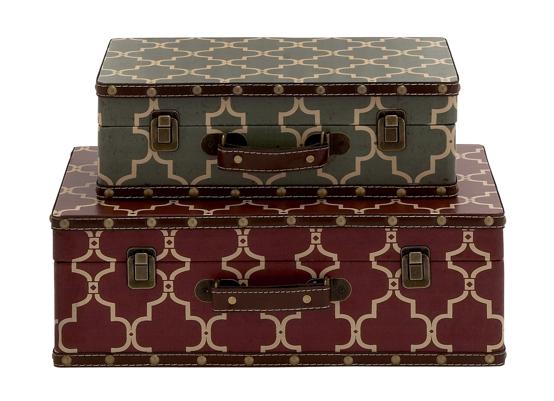 Deco 79 Wood Vinyl Suitcase, 17 by 14-Inch, Set of 2