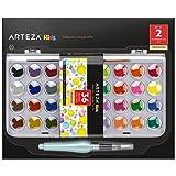 Arteza Kids Kit Peinture Aquarelle Enfants Palette 36 Couleurs Vives Haute Qualité, Idéal Débutants, Lavable, Non Toxique, Portable, Avec Pinceau à Eau (incluant 2 produits)