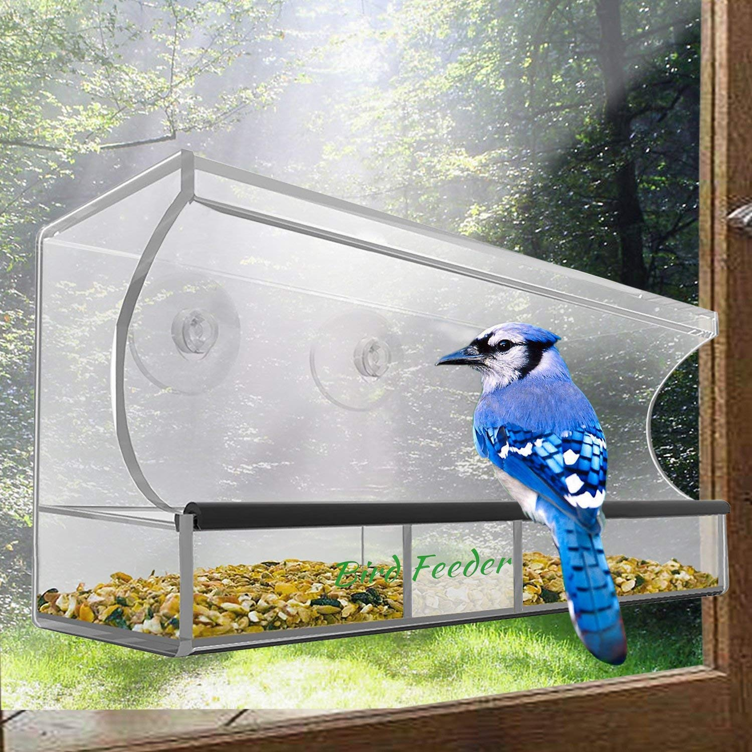 Bird Feeder, Window Bird House Crystal Clear Acrylic with Removable Tray, Drain Holes and 3 Heavy Duty Suction Cups with Hooks, Weatherproof Design, Squirrel Resistant, Drains Rain Water AnnBay