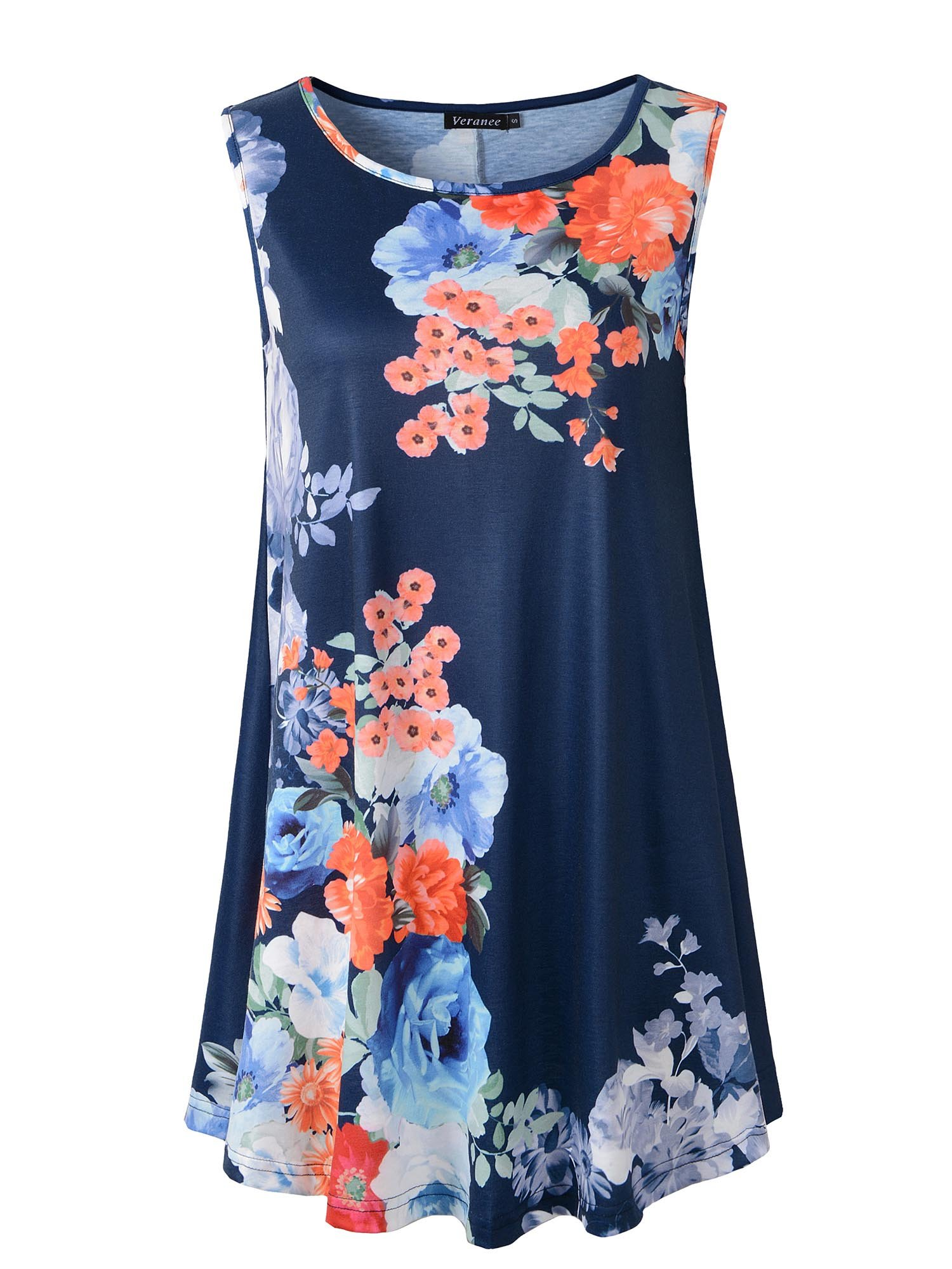 Veranee Women's Sleeveless Swing Tunic Summer Floral Flare Tank Top (X-Large, 6-9)