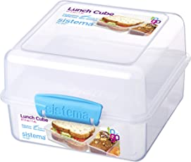 Sistema To Go Collection Lunch Cube Food Storage Container, 47.3 oz./1.4 L, Color Received May Vary