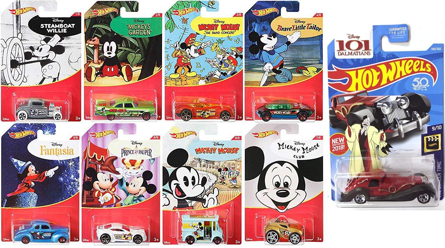 97a43ea3f7 Amazon.com  9 Hot Wheels Disney Pack Mickey Mouse   Cruella De Vil Character  Series Exclusive 8 Cartoon Car Set + 101 Dalmations Screen Time Pack  Bundle  ...