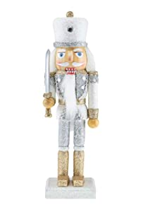 "Clever Creations Wooden Glittery Soldier Nutcracker | Gold and Silver Uniform Holding Sword | Great Traditional Festive Christmas Decor | Great for Any Holiday Collection | 10"" Perfect for Shelves"