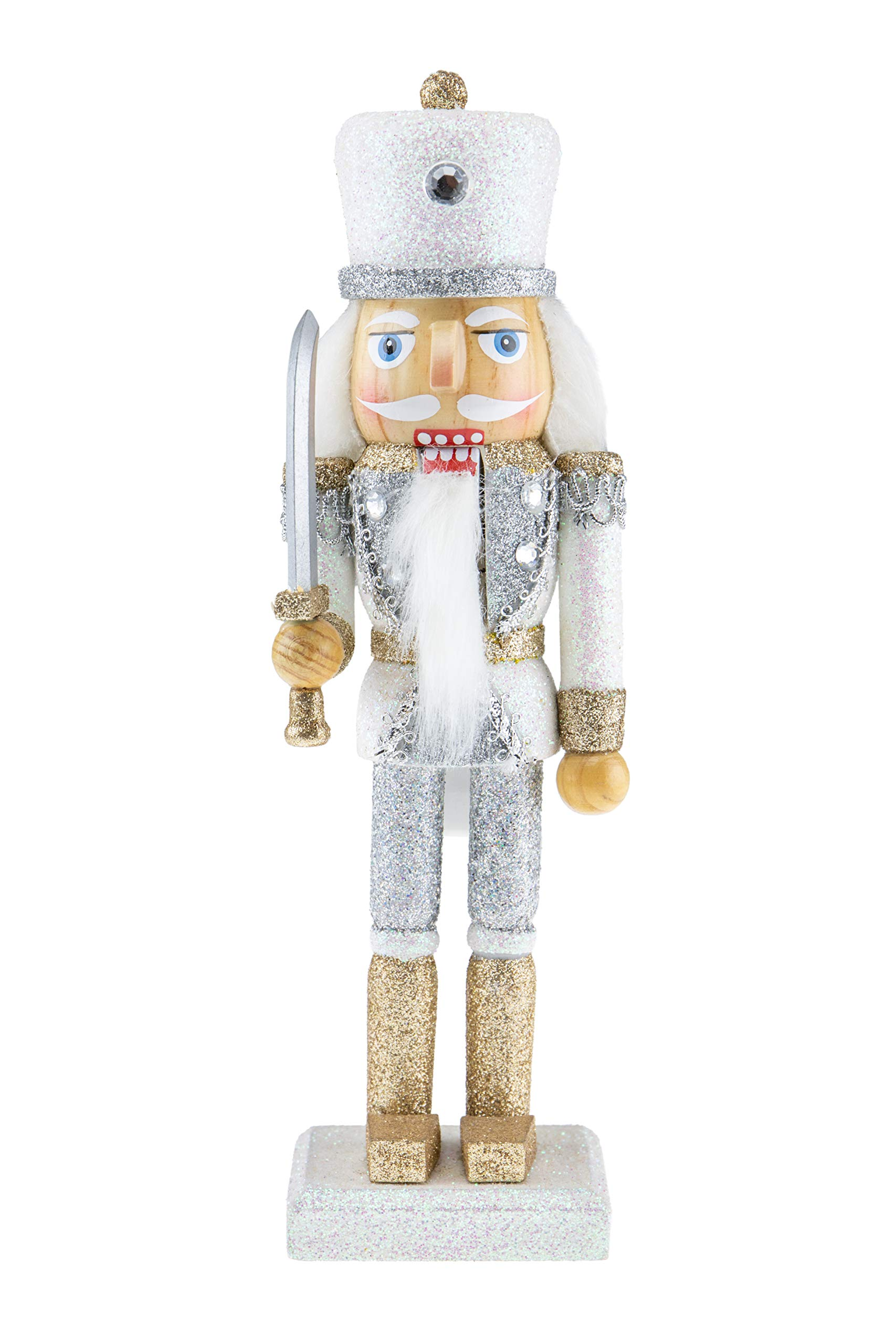 Clever Creations Wooden Glittery Soldier Nutcracker | Gold and Silver Uniform Holding Sword | Great Traditional Festive Christmas Decor | Great for Any Holiday Collection | 10'' Perfect for Shelves by Clever Creations