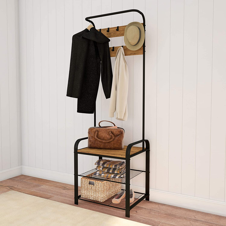 "Lavish Home Entryway Coat Rack-Metal Hall Tree-Storage Bench, 9 Hooks, 2 Shelves for Shoes & Hanging Rod-Rustic Farmhouse Design Mudroom Organizer, 73"", Brown"