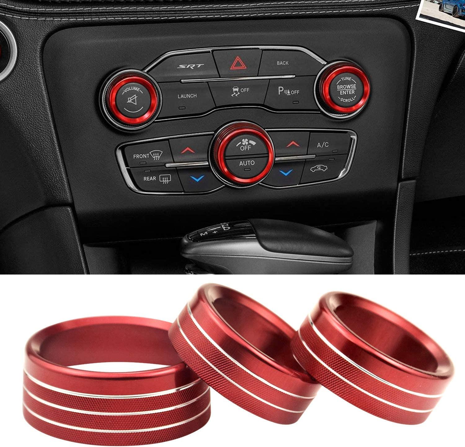 Air Conditioning Switch CD Button Knob Steering Wheel Shift Paddle Decal Trim Cover Rings for 2015-2020 Dodge Charger Challenger Durango RT Scat Pack