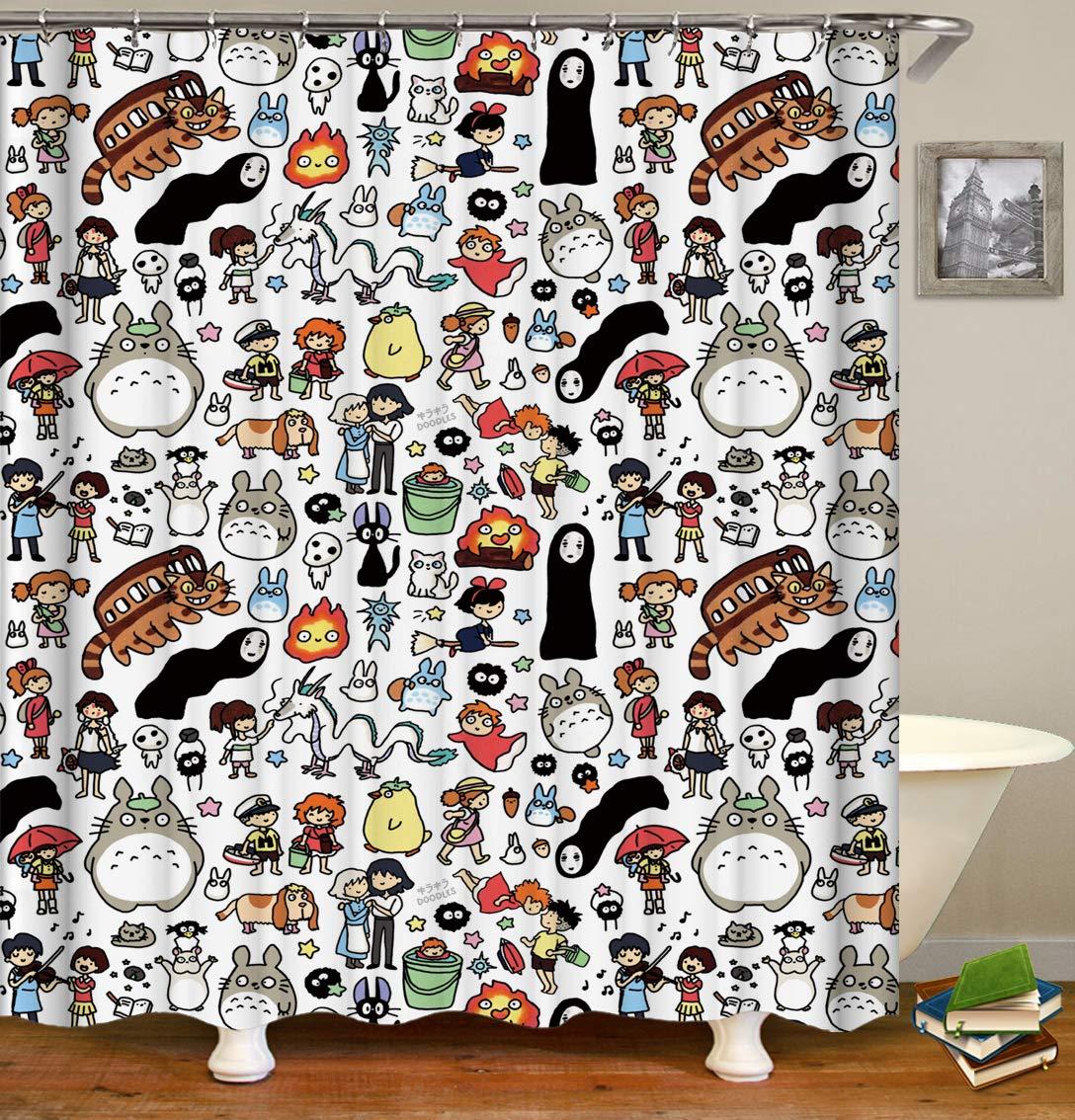 BARTORI Bathroom Decor Shower Curtain Totoro No Face Man Spirited Away Miyazaki Hayao Cartoon Theme Waterproof Polyester Fabric Bath Curtain with 12pcs Hooks 71''X71''