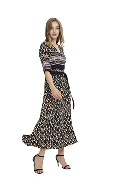 a8e4af769d2 Xinsilu Women s V Collar Side Open Printed Floral Pattern Graceful of  nationnal Style Party Dress (