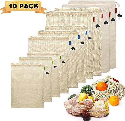 BlueFire 10 Bolsas de Comida para Fruta,100% Algodón Bolsas de la Compra Reutilizables Bolsas de Malla para Fruta Vegetal Lavable Totalizador de Compras con Cordón y Etiqueta de Tara (3*S, 3*M, 4*L):