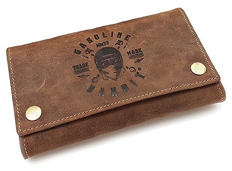 9d02d4f352e9 Vintage Biker Wallet Geldbörse original GASOLINE BANDIT® aus Echtleder mit  Kette