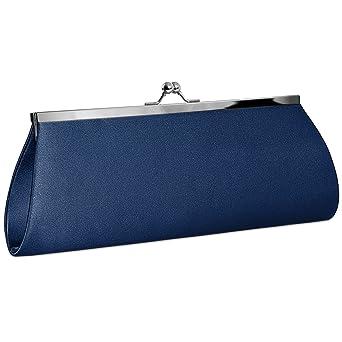 CASPAR TA309 Bolso de Mano Fiesta para Mujer/Clutch de Satén con Cierre Metálico Elegante - Varios Colores, Color:azul oscuro: Amazon.es: Ropa y accesorios